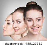 beautiful faces of young woman | Shutterstock . vector #455121352