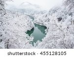 Bridge On A River With Snow...