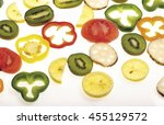 colorful fruits and vegetables... | Shutterstock . vector #455129572
