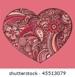 heart shape floral doodle ... | Shutterstock .eps vector #45513079