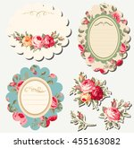 decorative floral scrapbook... | Shutterstock .eps vector #455163082