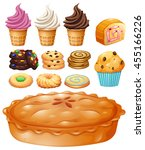 set of many types of desserts... | Shutterstock .eps vector #455166226