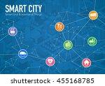 smart city line drawing... | Shutterstock .eps vector #455168785