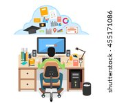 student searching education... | Shutterstock .eps vector #455171086