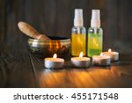 singing bowl and oil | Shutterstock . vector #455171548