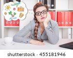 bored business woman dreaming... | Shutterstock . vector #455181946