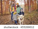 Stock photo family walk in the forest 455200012