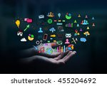businesswoman holding hand... | Shutterstock . vector #455204692