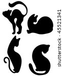 Stock vector cats silhouettes 45521341