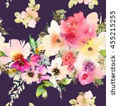 seamless pattern with flowers... | Shutterstock . vector #455215255
