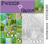 education game  puzzle. little... | Shutterstock .eps vector #455218285