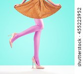 woman long legs  trendy high... | Shutterstock . vector #455223952