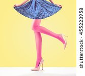 woman long legs  trendy high... | Shutterstock . vector #455223958