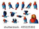 set of macaw parrot images.... | Shutterstock . vector #455225302
