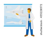 the scientist shows a poster... | Shutterstock .eps vector #455228572