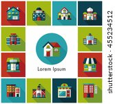 building and store icons set | Shutterstock .eps vector #455234512