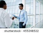 indian entrepreneurs discussing ... | Shutterstock . vector #455248522