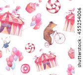 watercolor circus seamless... | Shutterstock . vector #455254006