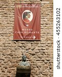 Small photo of ITALY. FLORENCE - APRIL 20, 2016: Bust of the famous Italian poet Dante Alighieri Dante against the backdrop of the museum.