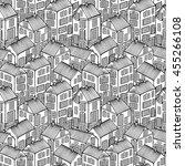 cartoon houses set. monochrome... | Shutterstock .eps vector #455266108