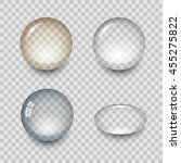 transparent drops of water with ... | Shutterstock . vector #455275822