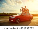 car is transporting bicycles on ... | Shutterstock . vector #455292625