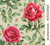 watercolor rose flowers... | Shutterstock . vector #455310565