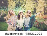happy friends in the park on a... | Shutterstock . vector #455312026