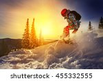 snowboarder jumping through air ... | Shutterstock . vector #455332555
