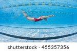 professional woman swimmer... | Shutterstock . vector #455357356