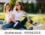 two beautiful friends girls... | Shutterstock . vector #455362315