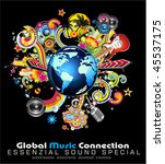 global music event abstract... | Shutterstock . vector #45537175