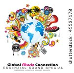 global music event abstract... | Shutterstock . vector #45537178