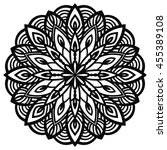 black outline flower mandala.... | Shutterstock .eps vector #455389108