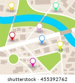 city map  with blank pointers  | Shutterstock . vector #455392762
