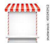sale stand with red awning....   Shutterstock . vector #455392912