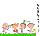 group of happy boys and girls... | Shutterstock .eps vector #455402548