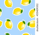 lemon same sizes sticker blue... | Shutterstock .eps vector #455409352