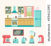kitchen interior design.set of ... | Shutterstock .eps vector #455411392