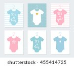 babies bodysuits clothes on... | Shutterstock .eps vector #455414725