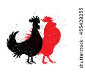 chinese zodiac  rooster.... | Shutterstock . vector #455428255