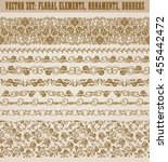 set of lace borders for design...   Shutterstock .eps vector #455442472