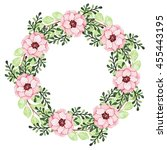 wreath with watercolor romantic ... | Shutterstock . vector #455443195
