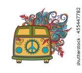 hippie vintage car a mini van.... | Shutterstock .eps vector #455447782