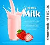 strawberry sweet milkshake... | Shutterstock .eps vector #455452426