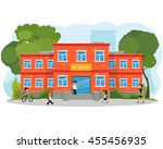 school building and children in ... | Shutterstock .eps vector #455456935