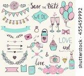 cute wedding elements set.... | Shutterstock .eps vector #455459992