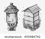Wooden Hives. Hand Drawn Sketc...
