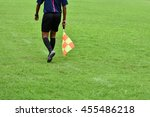 assistant referee running along ... | Shutterstock . vector #455486218
