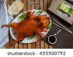 barbecued suckling pig  | Shutterstock . vector #455500792